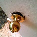 Our broken doorknob entering the room. We felt very safe.