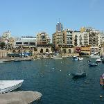Spinola Bay. Hotel is near tower you can see in Background