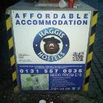 The Haggis Hostel signs to help find your way there