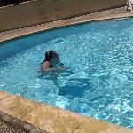 having a dip in the larger pool