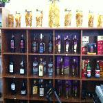 well stocked liquor shelf