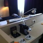 desk and Nespresso coffee machine