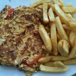 Delicious omelette with chips