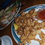 Dolphin sandwich, calamari appetizer