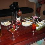 Yummy bar appetizers and cocktails.