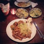 Chicken Dupiaza, veg rice, massala chips, plain naan. Unbelievable!!