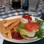 Saloon Burger and Fries with a Sam Adam's Seasonal