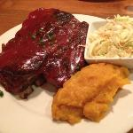 Ribs with coleslaw and squash
