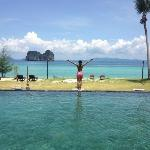 view from the pool with the andaman sea