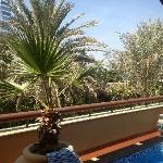 View from villa out over Executive Pool to the Burj