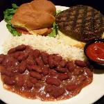 Kobe burger with red beans and rice