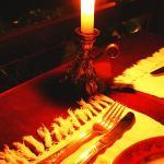 A luz de velas...