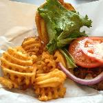 One of the burgers we had and a side of waffle fries!