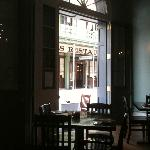 View of Antoine's and St. Louis Street from inside Cafe Soule