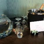 Surprise champagne, birthday card and a fish!