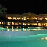 Main pool and main buliding over night