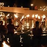 fire ceremony in the pool