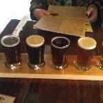 A tasting flight of the house beer