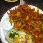 Chicken schwarma, hummus, cucumber sauce