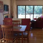 View from dining area over living room, to vineyard outside