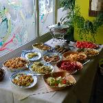 Freshly prepared food on the buffet table