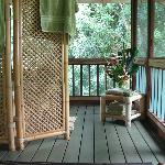 Jacuzzi tub on screened porch