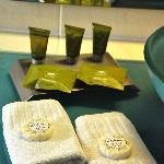The handmade soaps and shower packs in our room