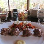 Handmade meatballs lunch