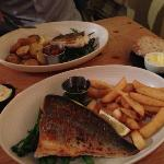 "fish ""your way"". pan fried bream and pan fried hake"