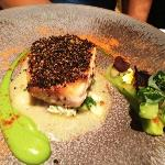 Sea Bass with black quinoa