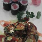 Tuna Roll (top), Rising Sun Roll (below)