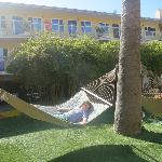 Relaxing in the hammock at the Hotel Del Sol.