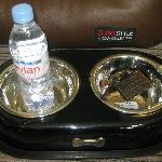 Bonny's snack bar: Evian water and luxury dog pate made for the hotel
