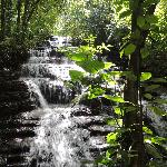 One of two waterfalls on the property