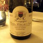 The red Burgundy was excellent