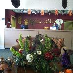 Lobby - decorated for Halloween