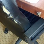 Rip in the office chair.