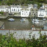view of the harbour from the cliffs above polperro