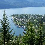 Looking down on Kaslo & Kootenay Lake with Beach Gables right on the waterfront.
