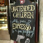 Funny sign in coffee house