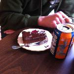 Chocolate cake and an irn bru