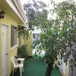 Looking from the room to the street-small courtyard