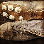 An example of the many items donated to NZ Rugby Museum. These are 1950's rugby boots.