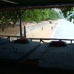 view from the beach massage centre onto private beach area