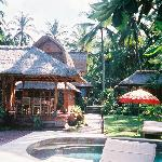 View from pool to villas