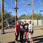 My daughter and I with new friends on the High Ropes Course