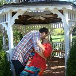 A smooch at the gazebo.