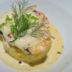 Filet de merlu, risotto et jus de crabes verts