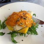 Trout with pumpkin sauce