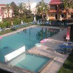 The pool area early in the morning